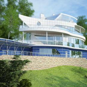 """Проект уникального жилого дома на сложном рельефе в стиле """"хай-тек"""""""