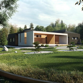 Проект одноэтажного загородного дома с патио