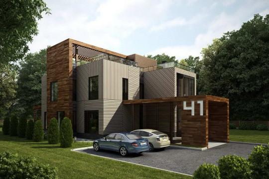 Проект современного дома в лесу
