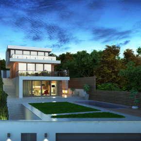Проект современного коттеджа на склоне в Подмосковье — Alex-house