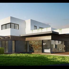 Проект двухэтажного дома с плоской крышей 2