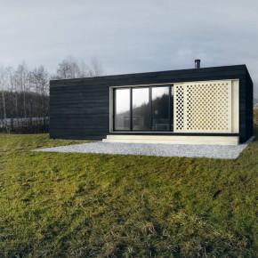 Проект дачного домика с плоской крышей в стиле минимализм